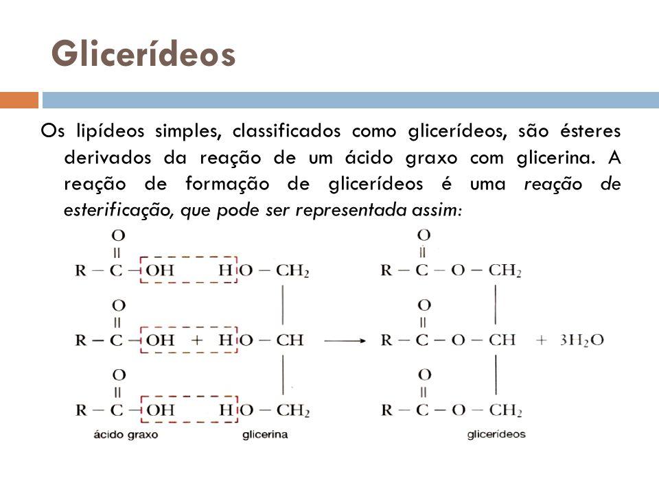 Glicerídeos Os lipídeos simples, classificados como glicerídeos, são ésteres derivados da reação de um ácido graxo com glicerina. A reação de formação