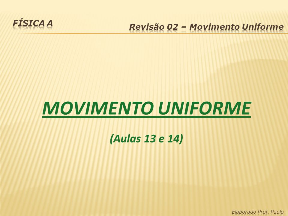 Movimento Uniforme (MU): Caracterísiticas: Velocidade escalar constante Aceleração nula Função Horária: S: posição final S 0 : posição inicial v: velocidade escalar t: tempo, instante S = S 0 + v·t