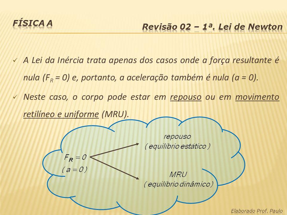 A Lei da Inércia trata apenas dos casos onde a força resultante é nula (F R = 0) e, portanto, a aceleração também é nula (a = 0). Neste caso, o corpo