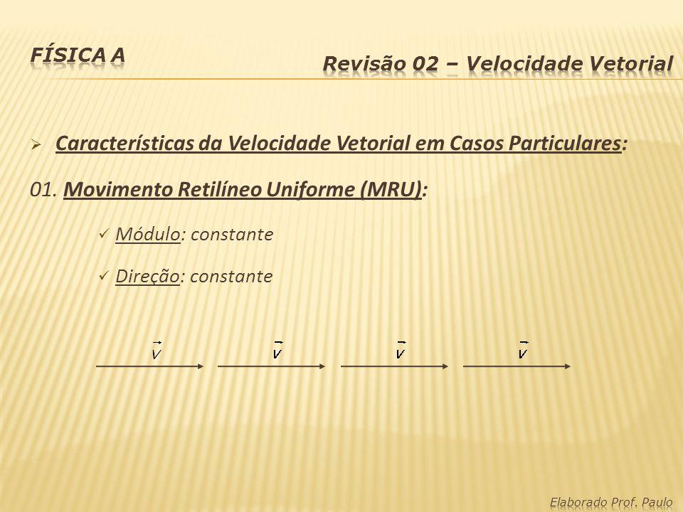 Características da Velocidade Vetorial em Casos Particulares: 01. Movimento Retilíneo Uniforme (MRU): Módulo: constante Direção: constante