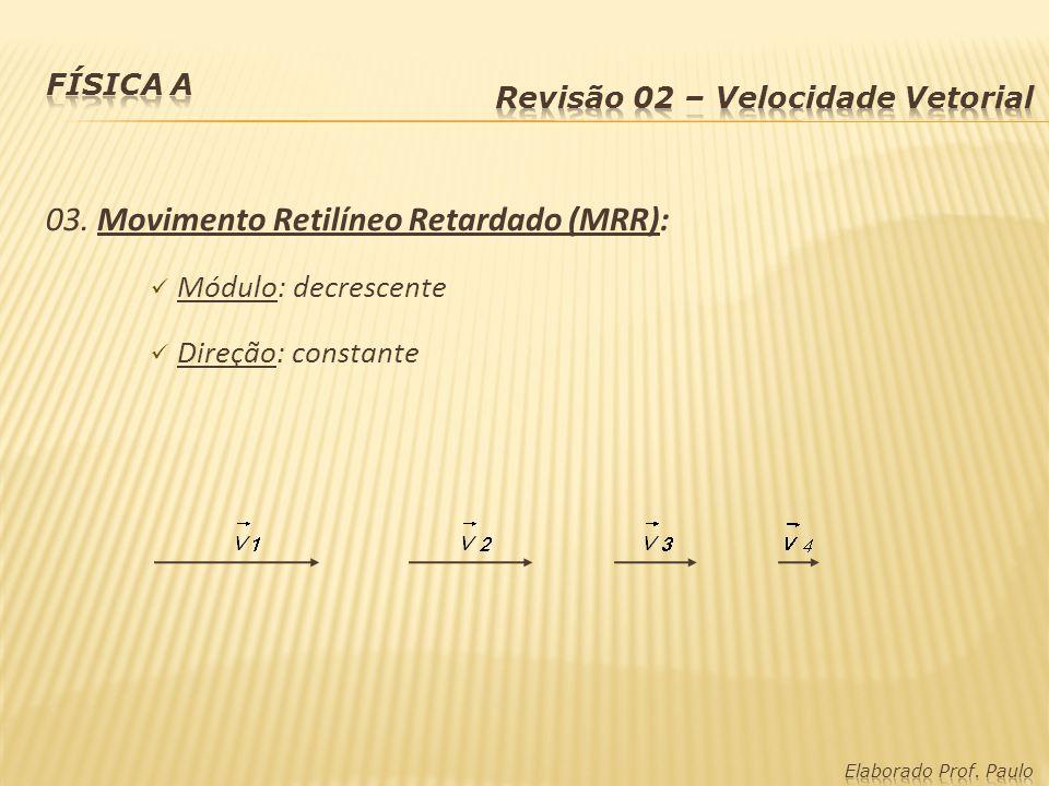 03. Movimento Retilíneo Retardado (MRR): Módulo: decrescente Direção: constante