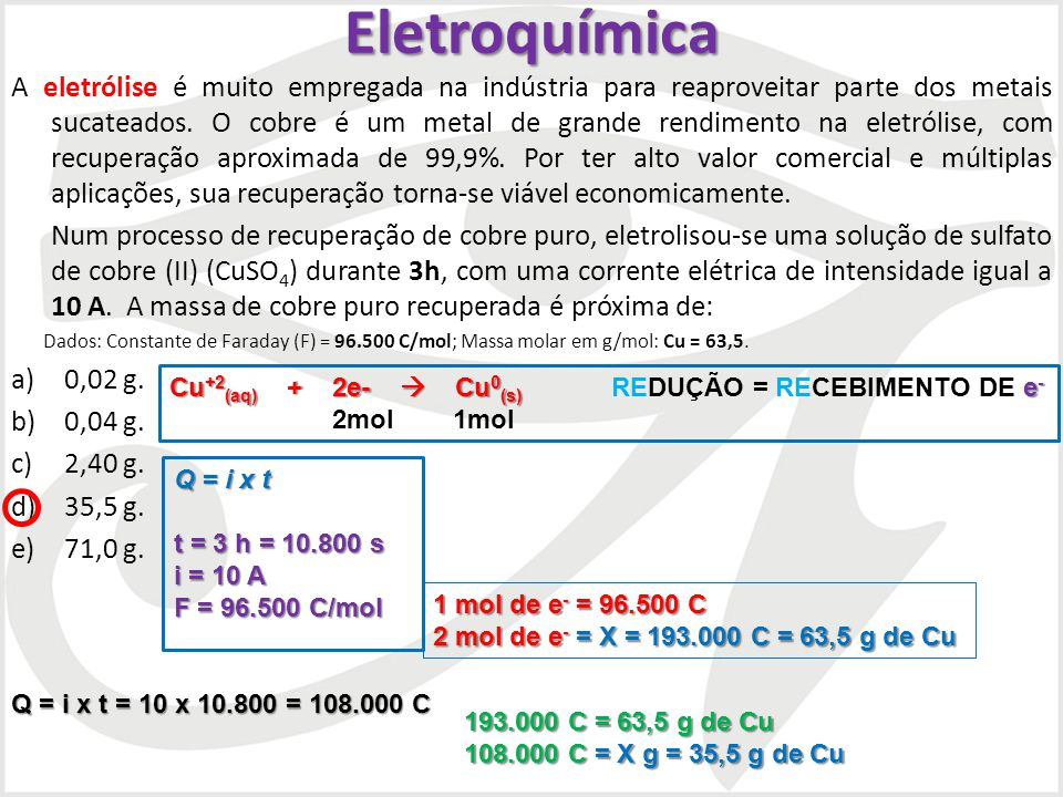 Eletroquímica A eletrólise é muito empregada na indústria para reaproveitar parte dos metais sucateados. O cobre é um metal de grande rendimento na el