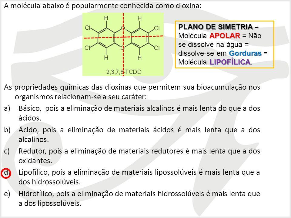 A molécula abaixo é popularmente conhecida como dioxina: As propriedades químicas das dioxinas que permitem sua bioacumulação nos organismos relaciona
