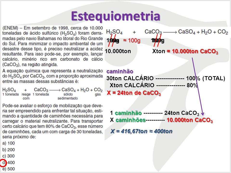 Estequiometria 98g 100g 100g 100g 1ton 1ton 10.000ton Xton caminhão caminhão 30ton CALCÁRIO --------------- 100% (TOTAL) Xton CALCÁRIO ---------------
