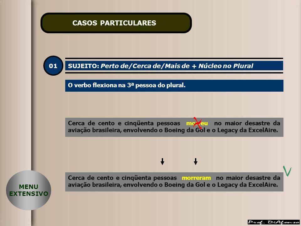 CASOS PARTICULARES 01 SUJEITO: Perto de/Cerca de/Mais de + Núcleo no Plural O verbo flexiona na 3ª pessoa do plural.