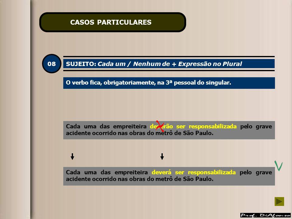 CASOS PARTICULARES 08 SUJEITO: Cada um / Nenhum de + Expressão no Plural O verbo fica, obrigatoriamente, na 3ª pessoal do singular.