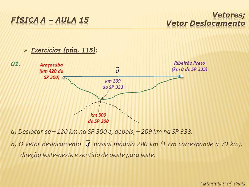 Exercícios (pág. 115): 01. a) Deslocar-se – 120 km na SP 300 e, depois, – 209 km na SP 333. b) O vetor deslocamento possui módulo 280 km (1 cm corresp