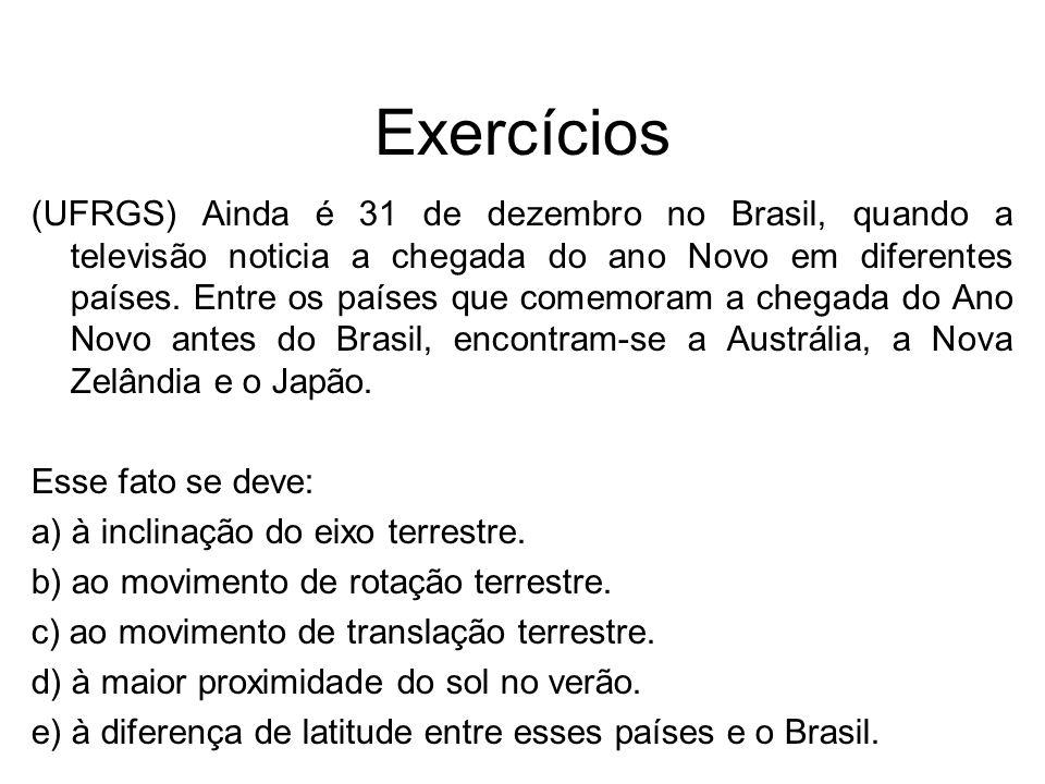 Exercícios (UFRGS) Ainda é 31 de dezembro no Brasil, quando a televisão noticia a chegada do ano Novo em diferentes países. Entre os países que comemo