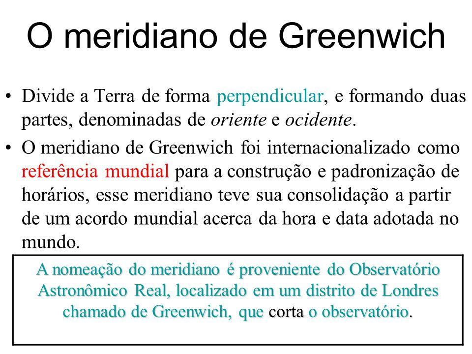 O meridiano de Greenwich Divide a Terra de forma perpendicular, e formando duas partes, denominadas de oriente e ocidente. O meridiano de Greenwich fo