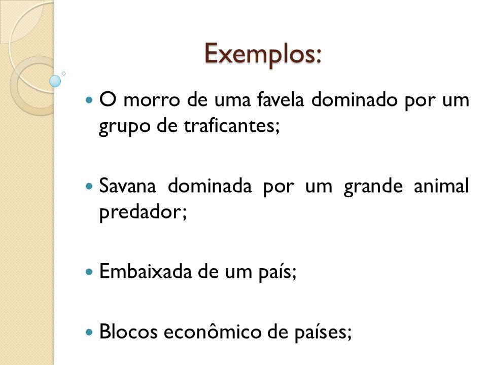 Exemplos: O morro de uma favela dominado por um grupo de traficantes; Savana dominada por um grande animal predador; Embaixada de um país; Blocos econ