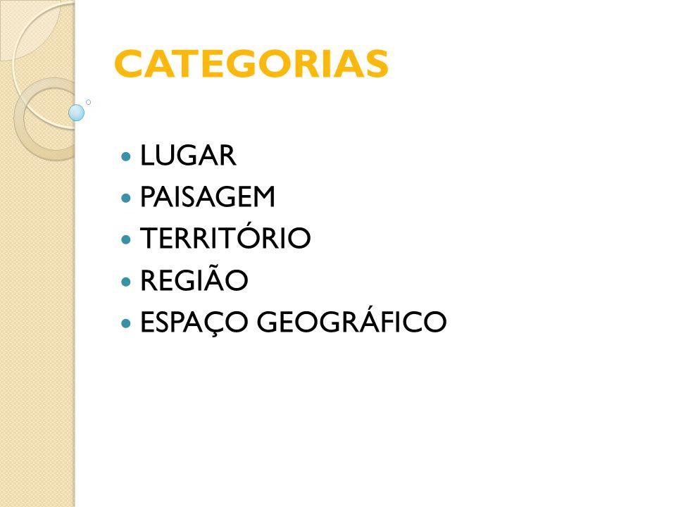 CATEGORIAS LUGAR PAISAGEM TERRITÓRIO REGIÃO ESPAÇO GEOGRÁFICO
