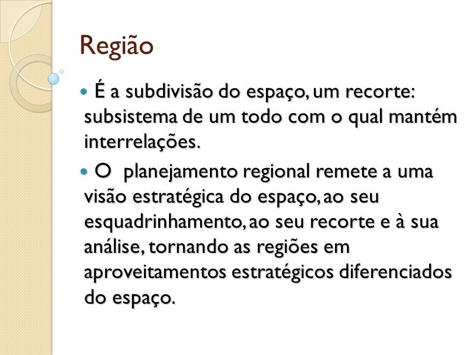 Região É a subdivisão do espaço, um recorte: subsistema de um todo com o qual mantém interrelações. O planejamento regional remete a uma visão estraté