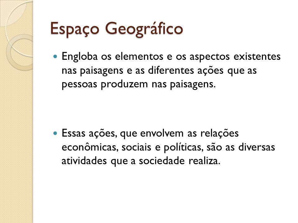 Espaço Geográfico Engloba os elementos e os aspectos existentes nas paisagens e as diferentes ações que as pessoas produzem nas paisagens. Essas ações