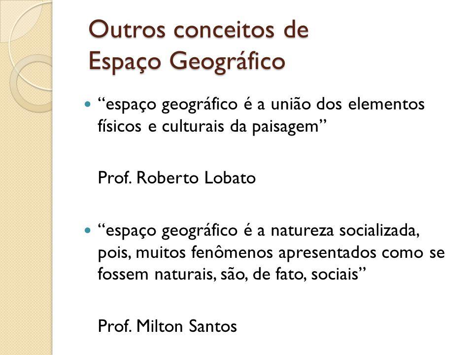 Outros conceitos de Espaço Geográfico espaço geográfico é a união dos elementos físicos e culturais da paisagem Prof. Roberto Lobato espaço geográfico