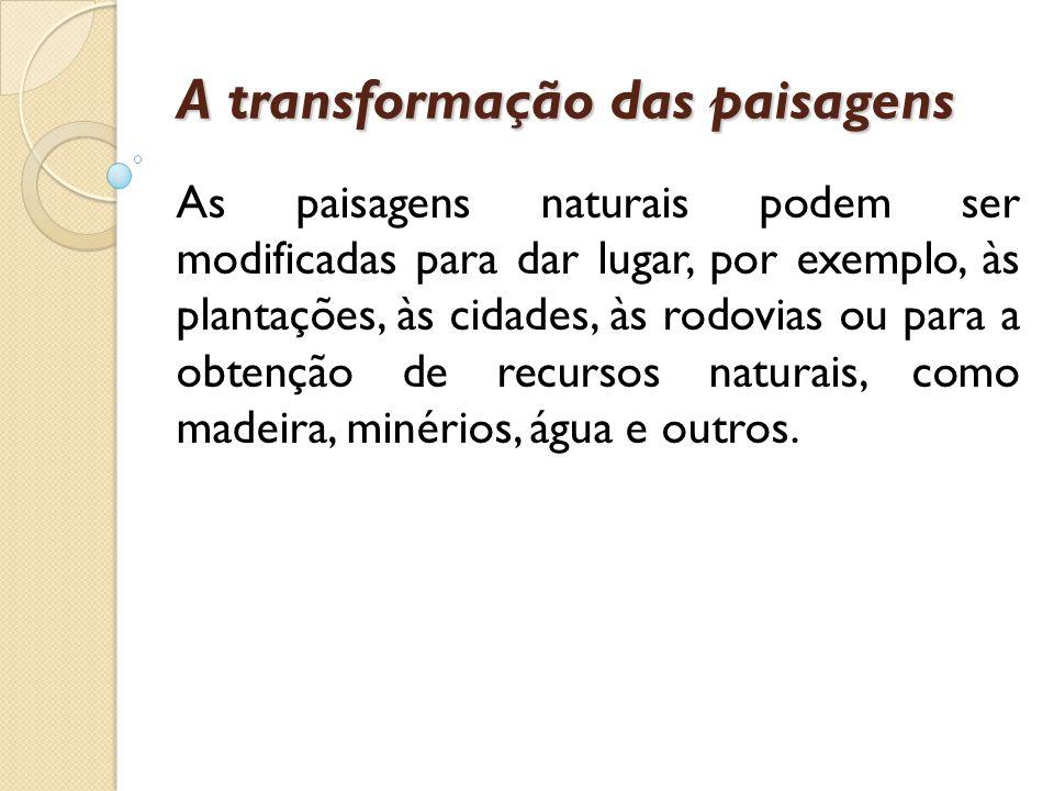 A transformação das paisagens As paisagens naturais podem ser modificadas para dar lugar, por exemplo, às plantações, às cidades, às rodovias ou para
