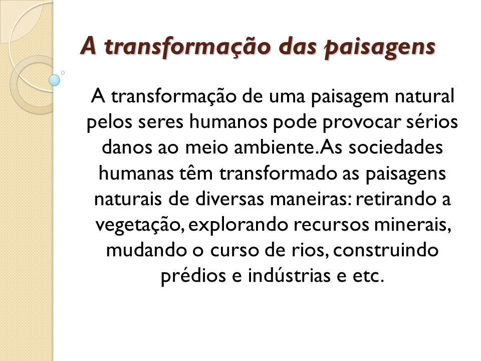 A transformação das paisagens A transformação de uma paisagem natural pelos seres humanos pode provocar sérios danos ao meio ambiente. As sociedades h