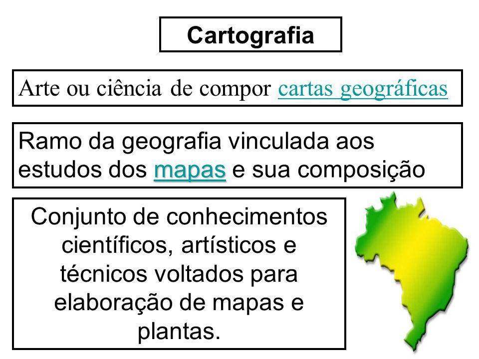 Cartografia Arte ou ciência de compor cartas geográficascartas geográficas mapas mapas Ramo da geografia vinculada aos estudos dos mapas e sua composi