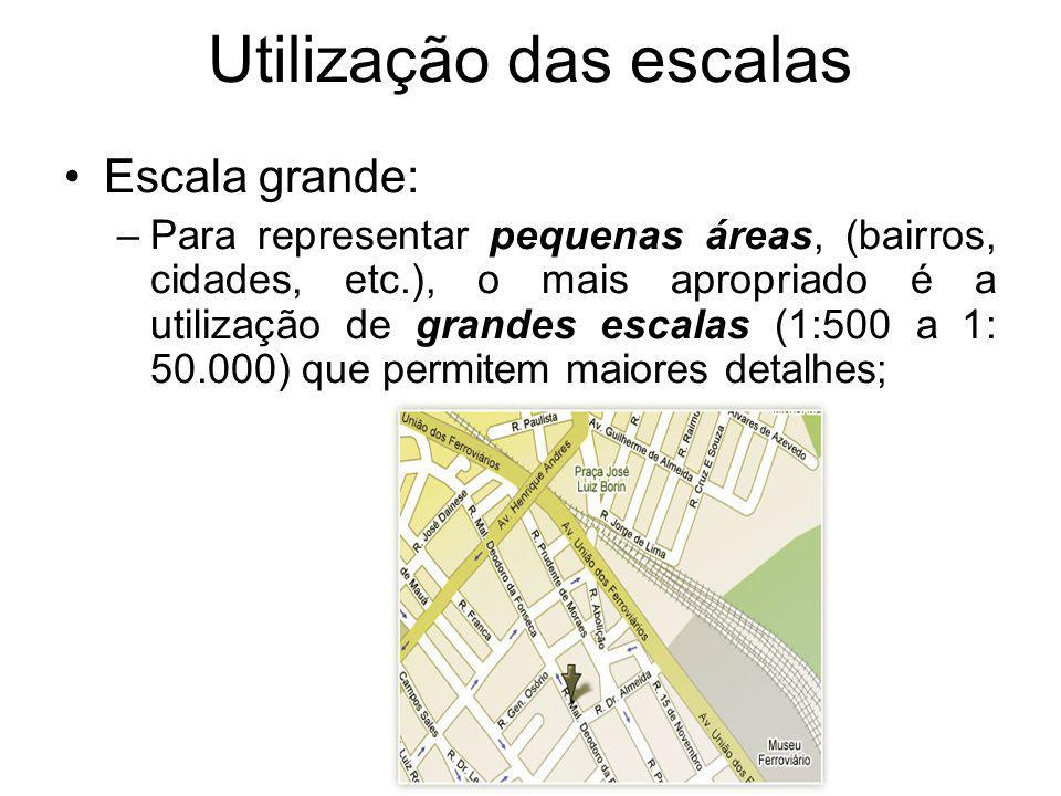 Utilização das escalas Escala grande: –Para representar pequenas áreas, (bairros, cidades, etc.), o mais apropriado é a utilização de grandes escalas