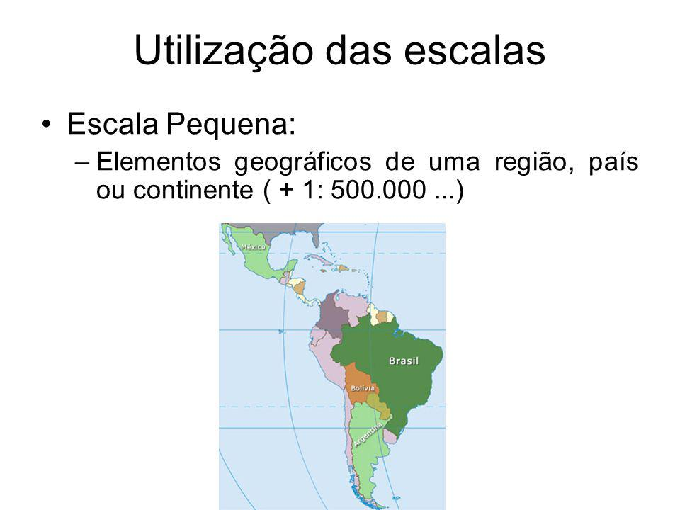 Utilização das escalas Escala Pequena: –Elementos geográficos de uma região, país ou continente ( + 1: 500.000...)