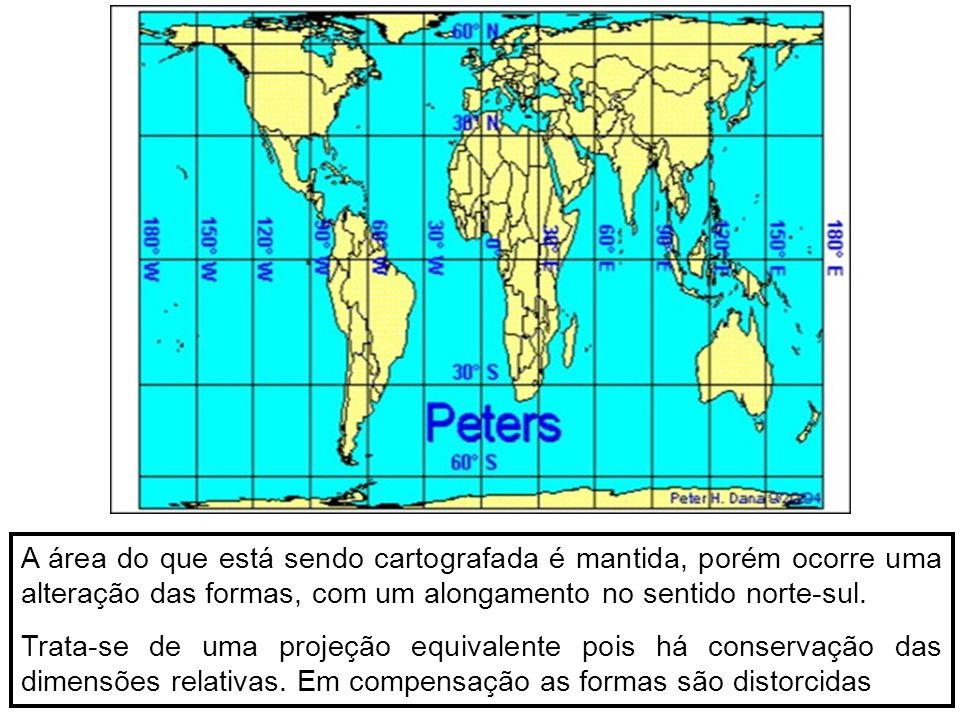 A área do que está sendo cartografada é mantida, porém ocorre uma alteração das formas, com um alongamento no sentido norte-sul. Trata-se de uma proje