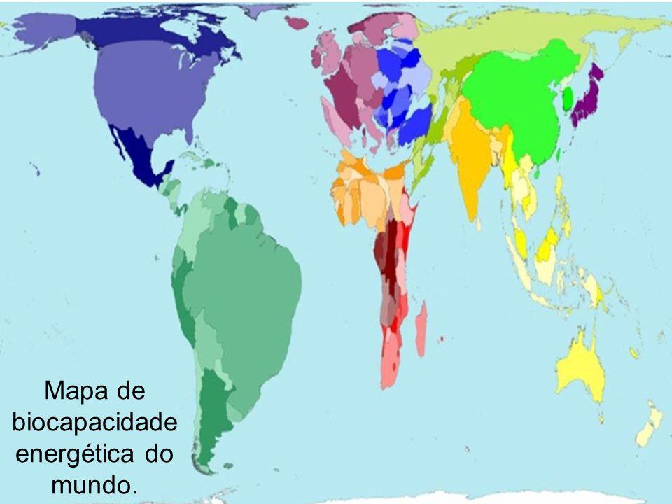 Mapa de biocapacidade energética do mundo.