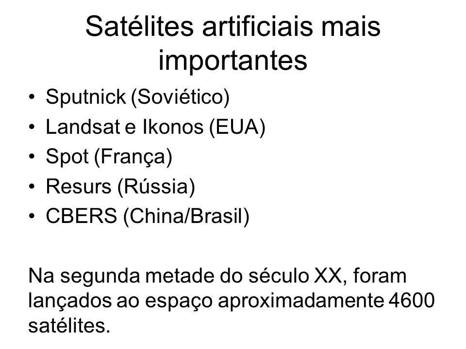 Satélites artificiais mais importantes Sputnick (Soviético) Landsat e Ikonos (EUA) Spot (França) Resurs (Rússia) CBERS (China/Brasil) Na segunda metad