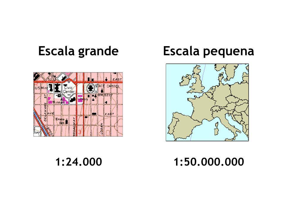 Utilização das escalas Escala grande: –Para representar pequenas áreas, (bairros, cidades, etc.), o mais apropriado é a utilização de grandes escalas (1:500 a 1: 50.000) que permitem maiores detalhes;