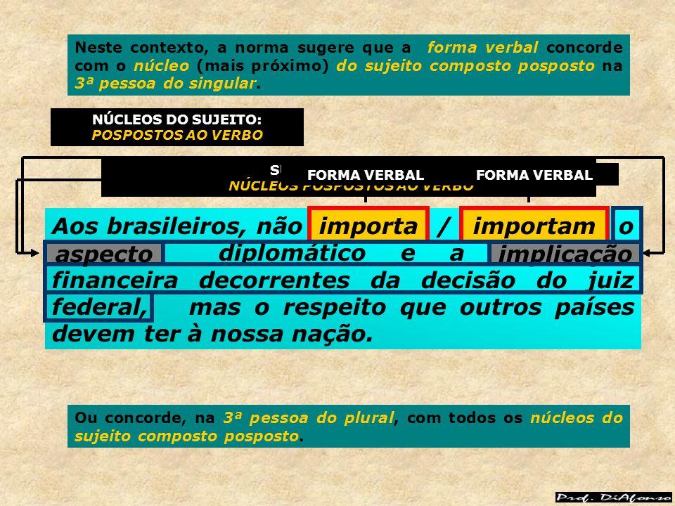 Aos brasileiros, não importa / importam o aspecto diplomático e a implicação financeira decorrentes da decisão do juiz federal, mas o respeito que out
