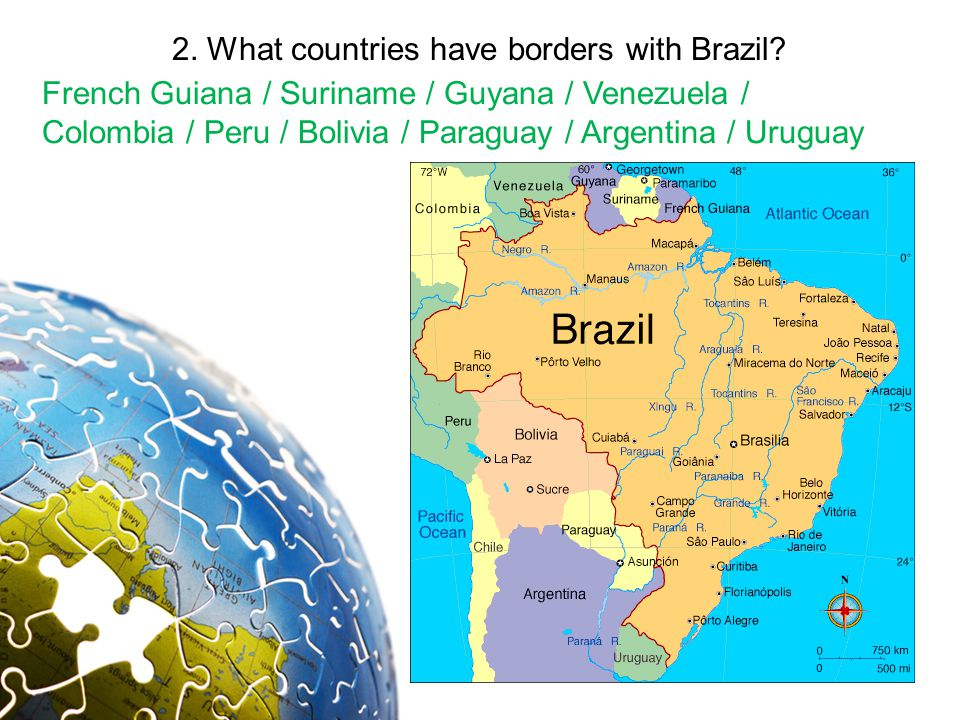 2. What countries have borders with Brazil.