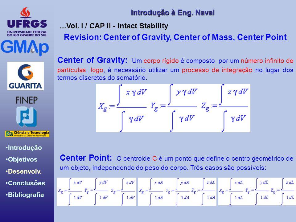 Introdução Objetivos Desenvolv. Conclusões Bibliografia Introdução àEng. Naval Introdução à Eng. Naval Revision: Center of Gravity, Center of Mass, Ce