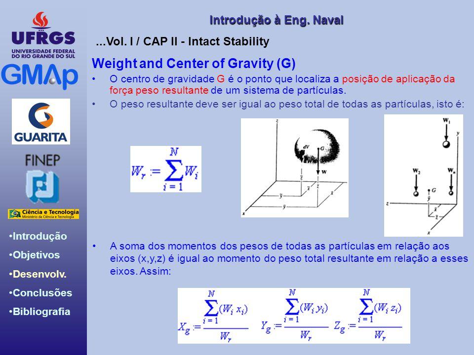Introdução Objetivos Desenvolv. Conclusões Bibliografia Introdução àEng. Naval Introdução à Eng. Naval Weight and Center of Gravity (G) O centro de gr