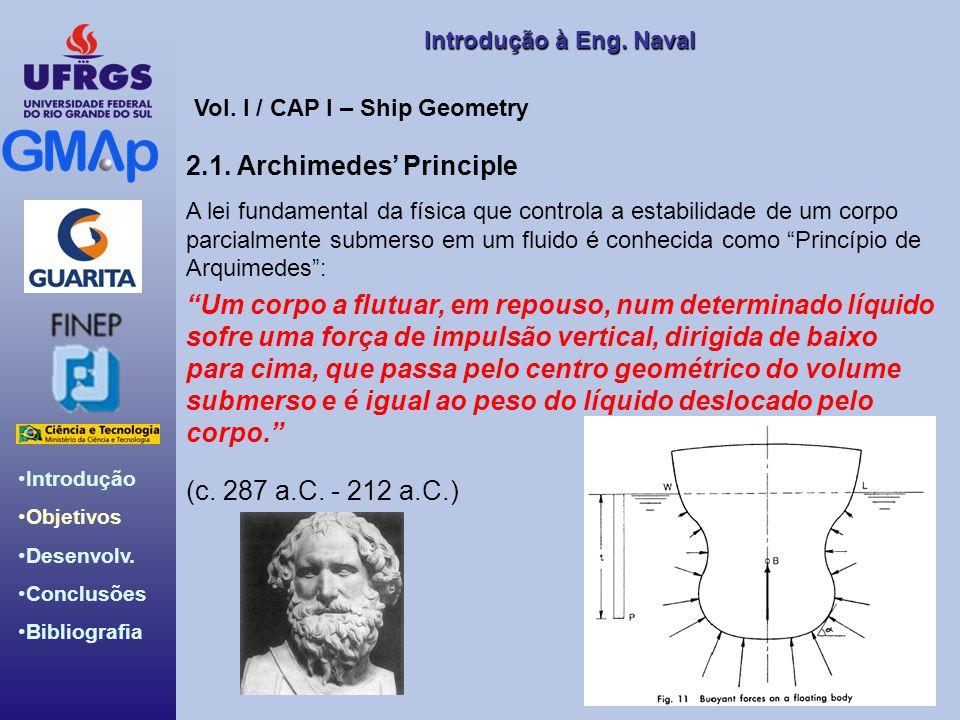 Introdução Objetivos Desenvolv. Conclusões Bibliografia Introdução àEng. Naval Introdução à Eng. Naval 2.1. Archimedes Principle A lei fundamental da