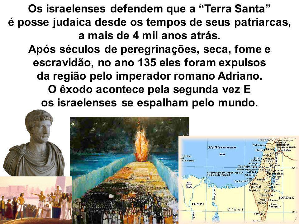 Os israelenses defendem que a Terra Santa é posse judaica desde os tempos de seus patriarcas, a mais de 4 mil anos atrás. Após séculos de peregrinaçõe