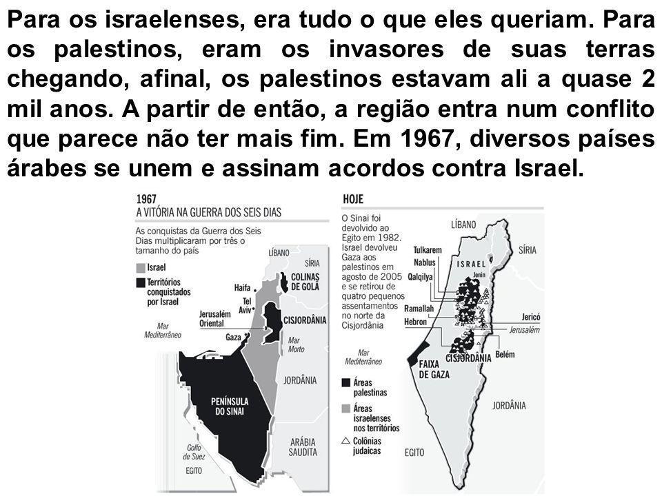 Temendo um ataque dos árabes, os israelenses, com a ajuda política e militar dos Estados Unidos, atacam os árabes e em 6 dias tomam as Colinas de Golã da Síria, a Península do Sinai do Egito e a Faixa de Gaza e a Cisjordânia da Palestina.