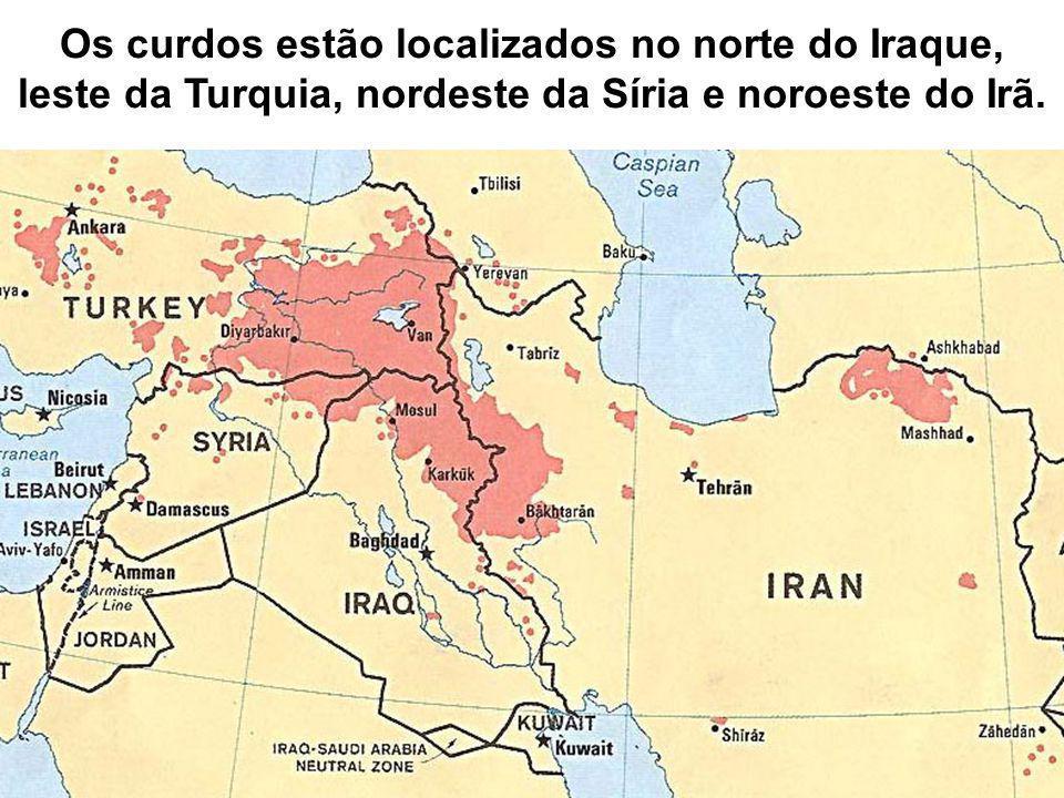 Os curdos estão localizados no norte do Iraque, leste da Turquia, nordeste da Síria e noroeste do Irã.