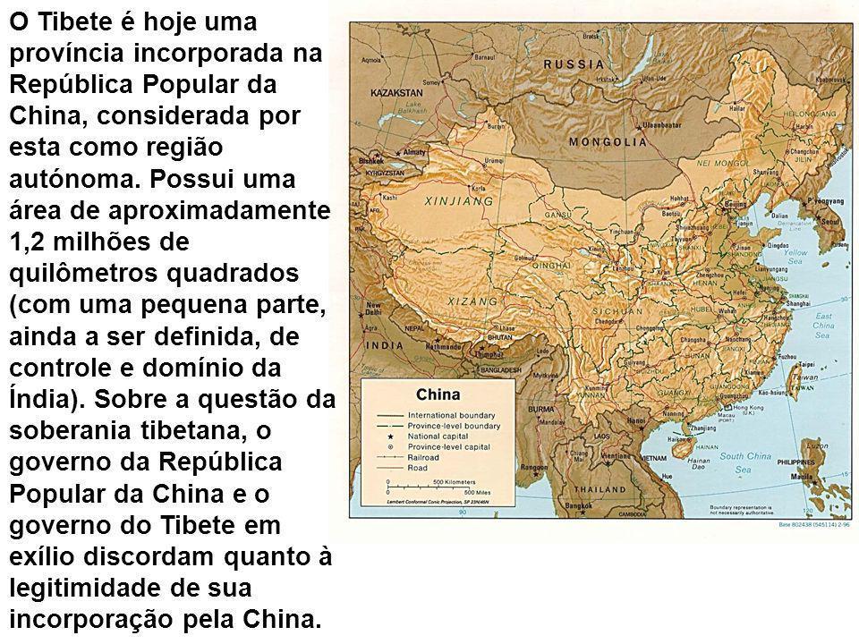 O Tibete é hoje uma província incorporada na República Popular da China, considerada por esta como região autónoma. Possui uma área de aproximadamente
