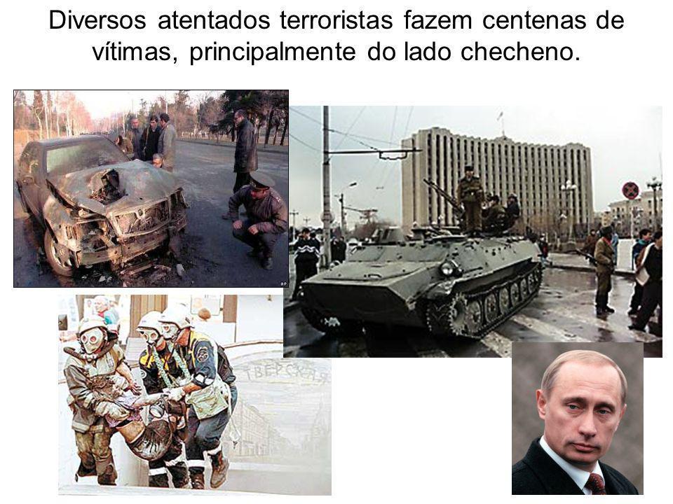 Diversos atentados terroristas fazem centenas de vítimas, principalmente do lado checheno.