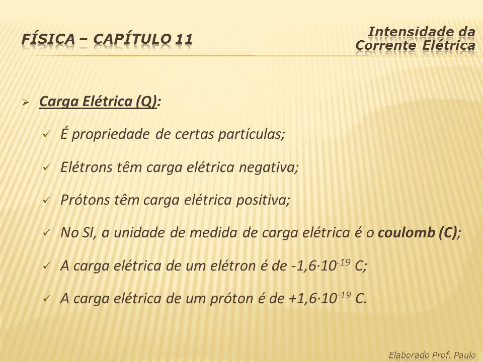Carga Elétrica (Q): É propriedade de certas partículas; Elétrons têm carga elétrica negativa; Prótons têm carga elétrica positiva; No SI, a unidade de medida de carga elétrica é o coulomb (C); A carga elétrica de um elétron é de -1,6·10 -19 C; A carga elétrica de um próton é de +1,6·10 -19 C.