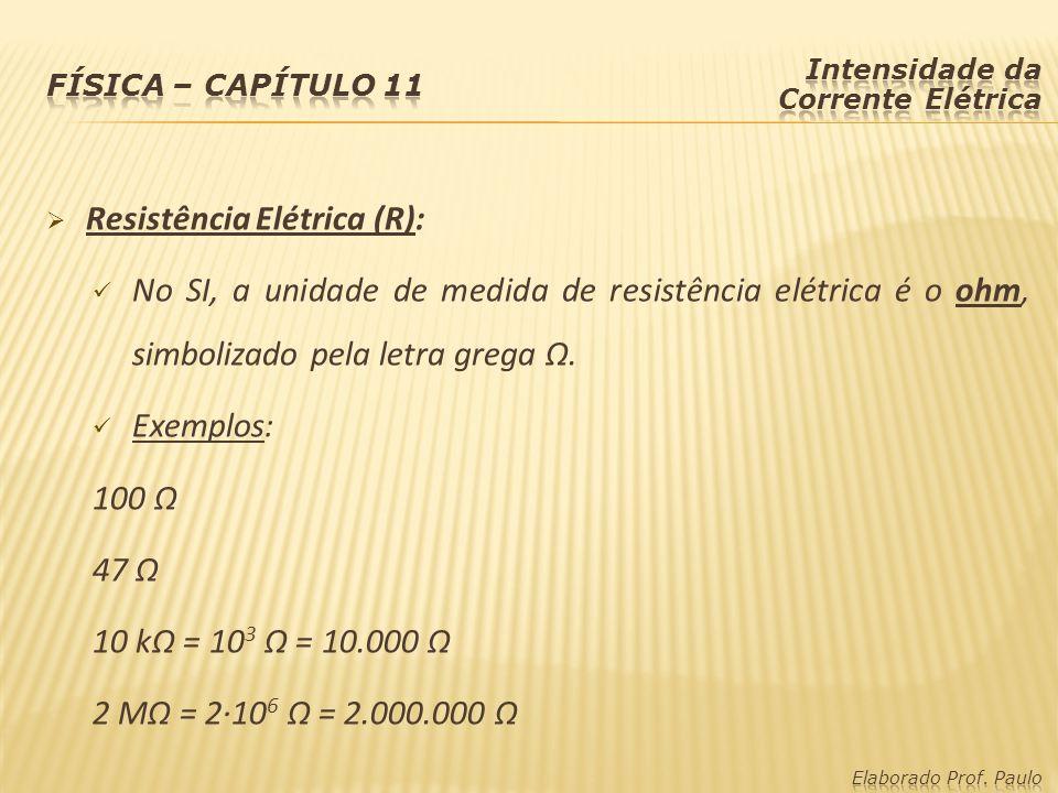 Resistência Elétrica (R): No SI, a unidade de medida de resistência elétrica é o ohm, simbolizado pela letra grega Ω.