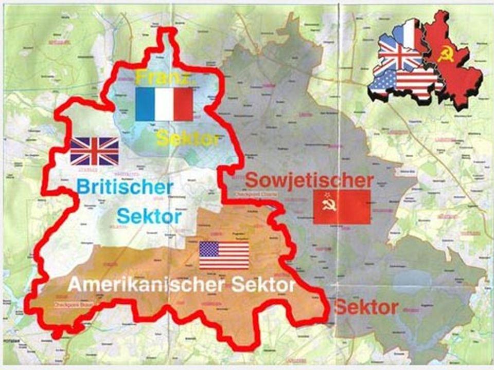 Conferência de Potsdam (jul.- ago. 1945) Divisão da Alemanha em quatro zonas de influência Divisão de Berlim em quatro zonas de influência Instalação