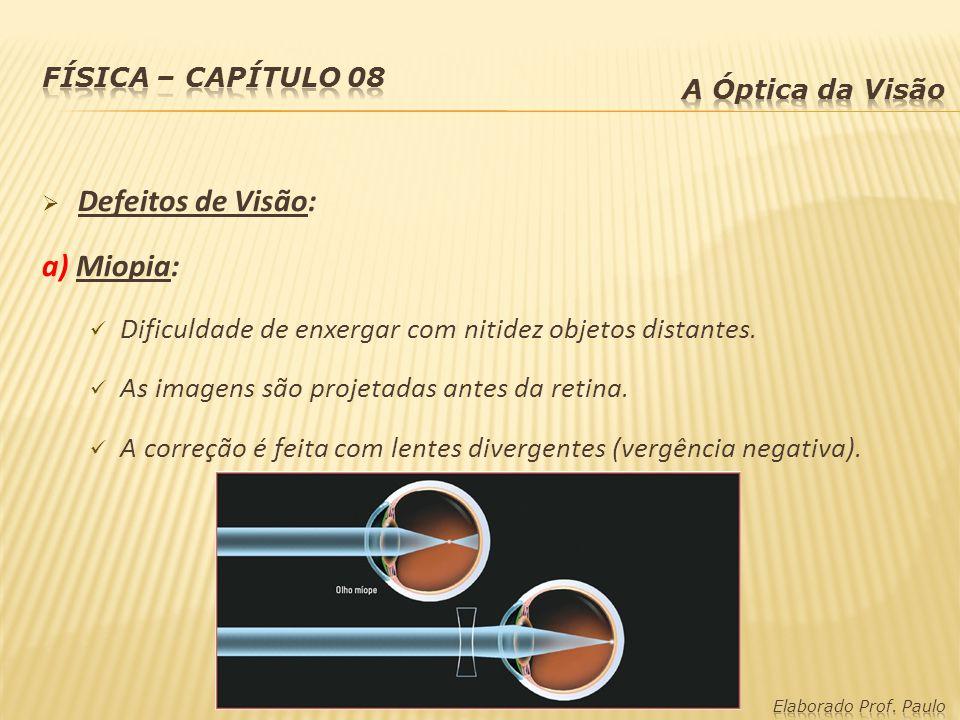 Defeitos de Visão: a) Miopia: Dificuldade de enxergar com nitidez objetos distantes. As imagens são projetadas antes da retina. A correção é feita com