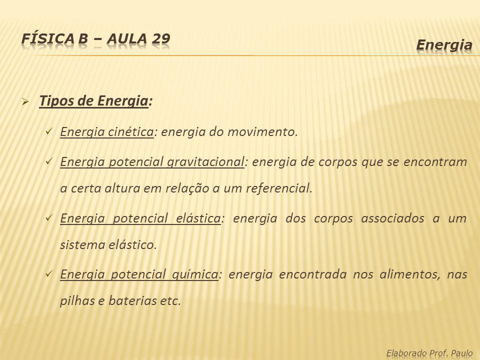Tipos de Energia: Energia cinética: energia do movimento. Energia potencial gravitacional: energia de corpos que se encontram a certa altura em relaçã