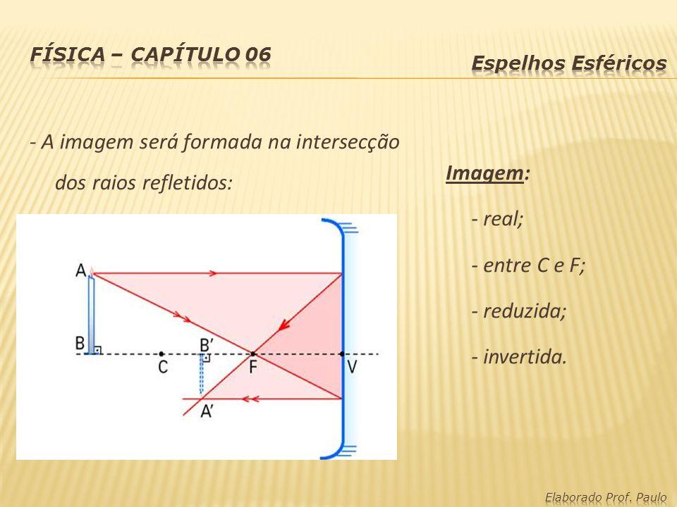 - A imagem será formada na intersecção dos raios refletidos: Imagem: - real; - entre C e F; - reduzida; - invertida.