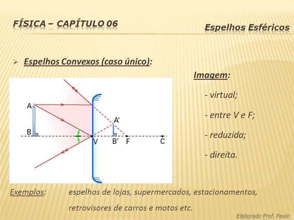 Espelhos Convexos (caso único): Imagem: - virtual; - entre V e F; - reduzida; - direita. Exemplos:espelhos de lojas, supermercados, estacionamentos, r