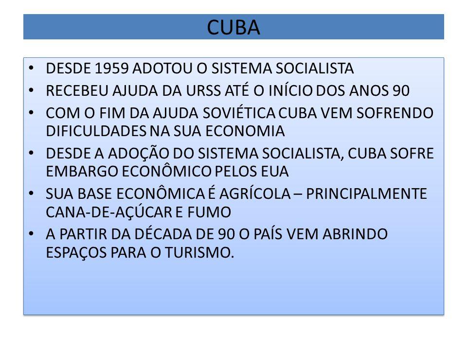 CUBA DESDE 1959 ADOTOU O SISTEMA SOCIALISTA RECEBEU AJUDA DA URSS ATÉ O INÍCIO DOS ANOS 90 COM O FIM DA AJUDA SOVIÉTICA CUBA VEM SOFRENDO DIFICULDADES NA SUA ECONOMIA DESDE A ADOÇÃO DO SISTEMA SOCIALISTA, CUBA SOFRE EMBARGO ECONÔMICO PELOS EUA SUA BASE ECONÔMICA É AGRÍCOLA – PRINCIPALMENTE CANA-DE-AÇÚCAR E FUMO A PARTIR DA DÉCADA DE 90 O PAÍS VEM ABRINDO ESPAÇOS PARA O TURISMO.