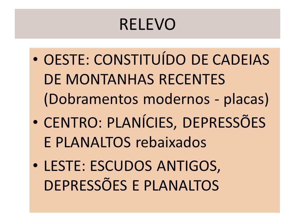 RELEVO OESTE: CONSTITUÍDO DE CADEIAS DE MONTANHAS RECENTES (Dobramentos modernos - placas) CENTRO: PLANÍCIES, DEPRESSÕES E PLANALTOS rebaixados LESTE: ESCUDOS ANTIGOS, DEPRESSÕES E PLANALTOS