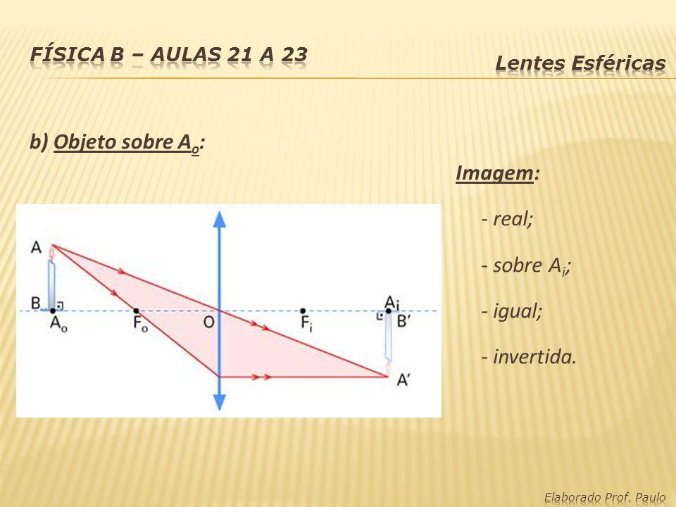b) Objeto sobre A o : Imagem: - real; - sobre A i ; - igual; - invertida.