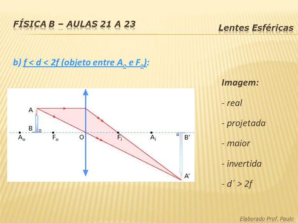 b) f < d < 2f (objeto entre A o e F o ): Imagem: - real - projetada - maior - invertida - d´ > 2f