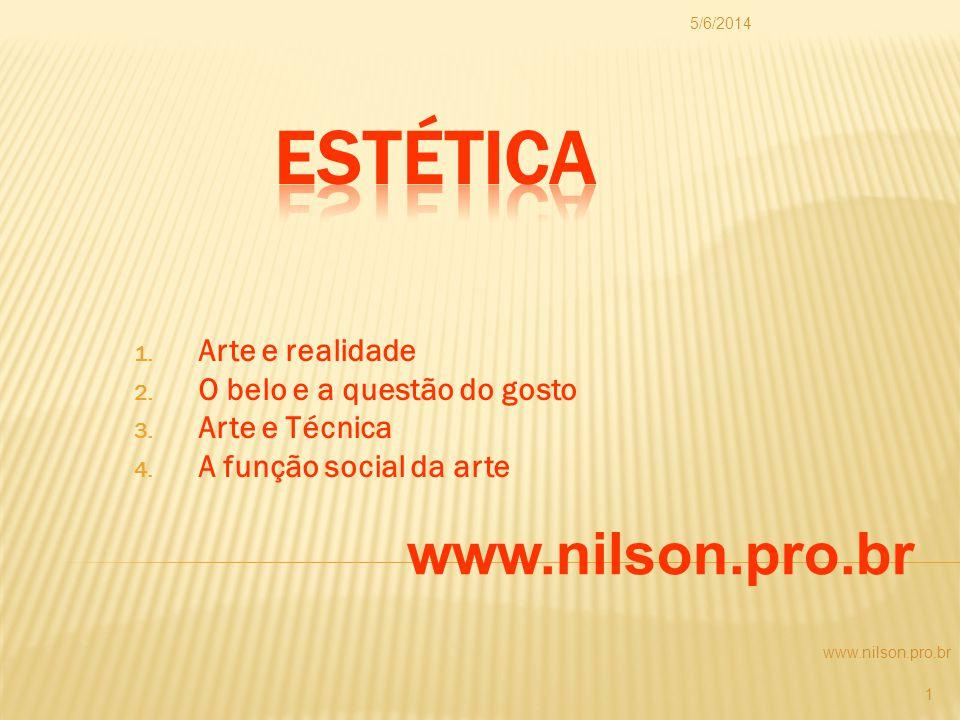 1. Arte e realidade 2. O belo e a questão do gosto 3. Arte e Técnica 4. A função social da arte www.nilson.pro.br 5/6/2014 1 www.nilson.pro.br