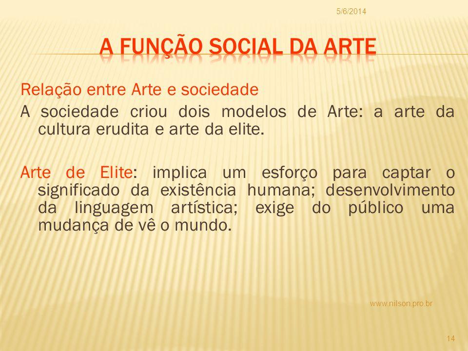 Relação entre Arte e sociedade A sociedade criou dois modelos de Arte: a arte da cultura erudita e arte da elite. Arte de Elite: implica um esforço pa